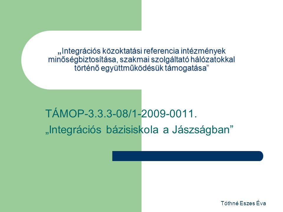 """Tóthné Eszes Éva Integrációs közoktatási referencia intézmények minőségbiztosítása, szakmai szolgáltató hálózatokkal történő együttműködésük támogatása """"Integrációs közoktatási referencia intézmények minőségbiztosítása, szakmai szolgáltató hálózatokkal történő együttműködésük támogatása TÁMOP-3.3.3-08/1-2009-0011."""