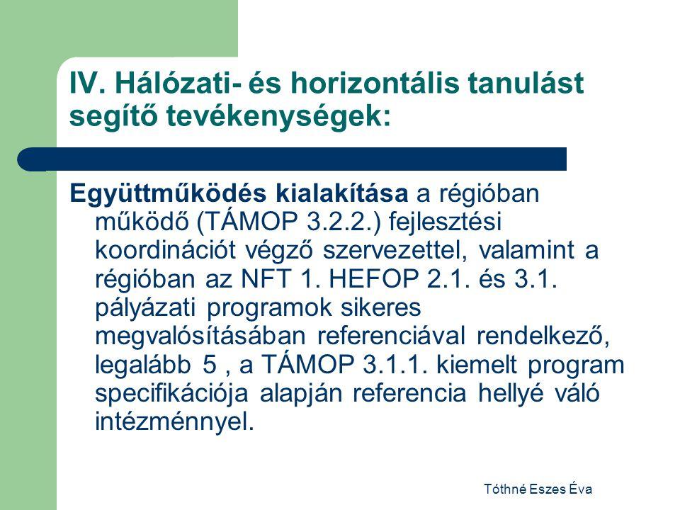 Tóthné Eszes Éva IV. Hálózati- és horizontális tanulást segítő tevékenységek: Együttműködés kialakítása a régióban működő (TÁMOP 3.2.2.) fejlesztési k