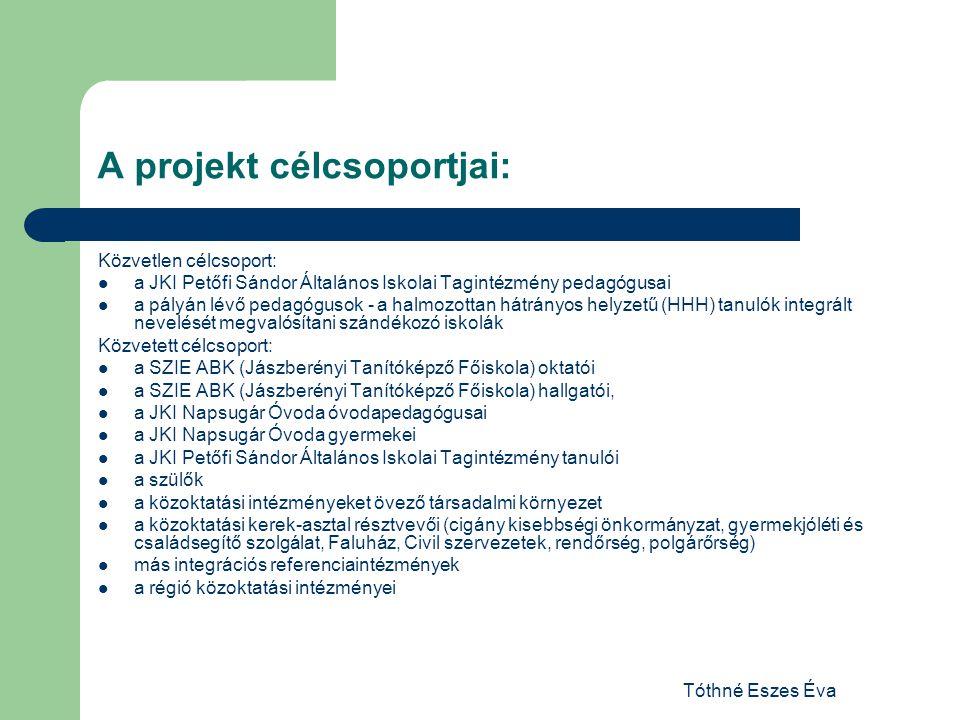 Tóthné Eszes Éva A projekt tevékenységi körei: I.