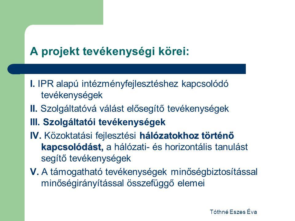Tóthné Eszes Éva A projekt tevékenységi körei: I. IPR alapú intézményfejlesztéshez kapcsolódó tevékenységek II. Szolgáltatóvá válást elősegítő tevéken