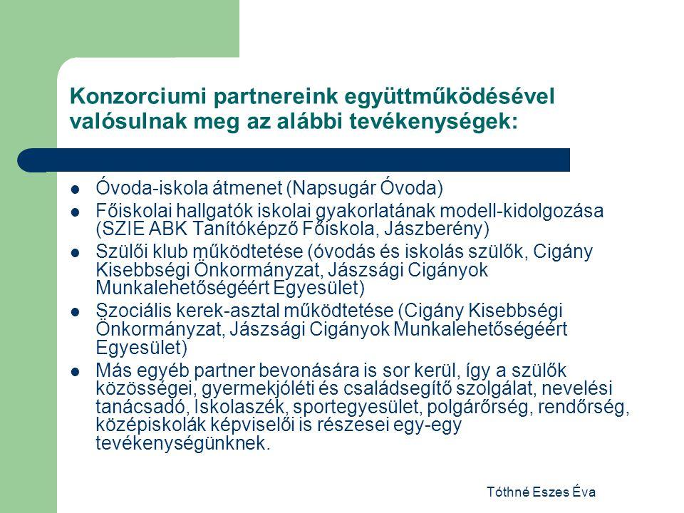 Tóthné Eszes Éva Konzorciumi partnereink együttműködésével valósulnak meg az alábbi tevékenységek: Óvoda-iskola átmenet (Napsugár Óvoda) Főiskolai hal