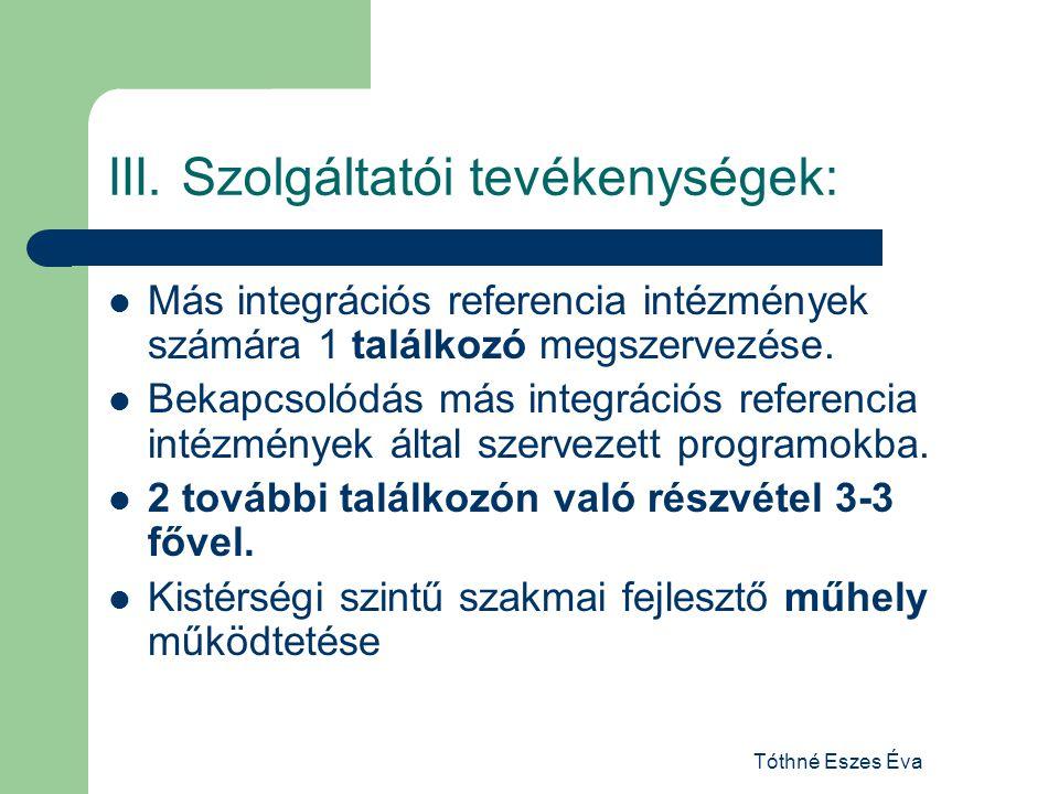 Tóthné Eszes Éva III. Szolgáltatói tevékenységek: Más integrációs referencia intézmények számára 1 találkozó megszervezése. Bekapcsolódás más integrác