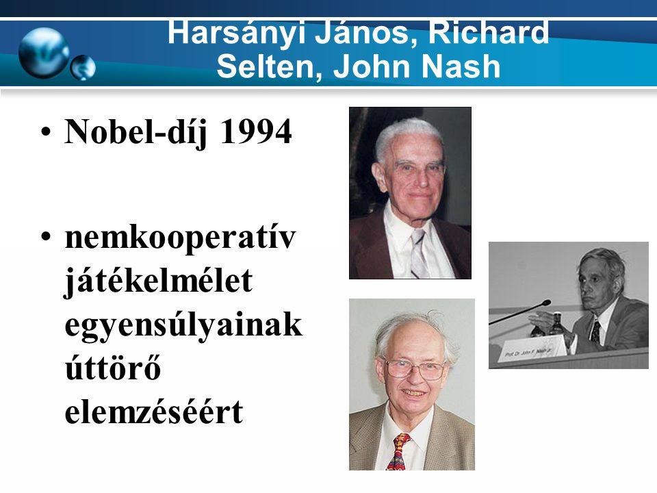 Harsányi János, Richard Selten, John Nash Nobel-díj 1994 nemkooperatív játékelmélet egyensúlyainak úttörő elemzéséért