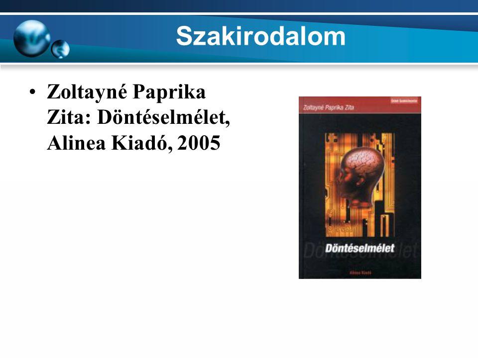 Szakirodalom Zoltayné Paprika Zita: Döntéselmélet, Alinea Kiadó, 2005