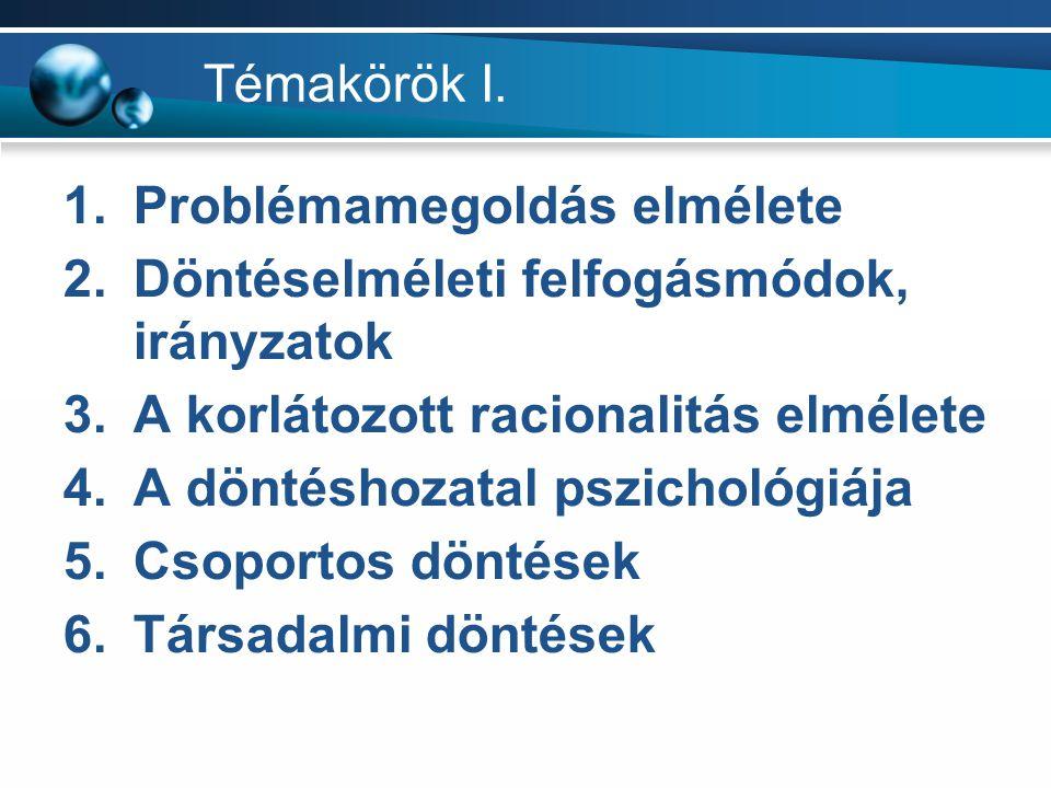 Témakörök I. 1.Problémamegoldás elmélete 2.Döntéselméleti felfogásmódok, irányzatok 3.A korlátozott racionalitás elmélete 4.A döntéshozatal pszichológ