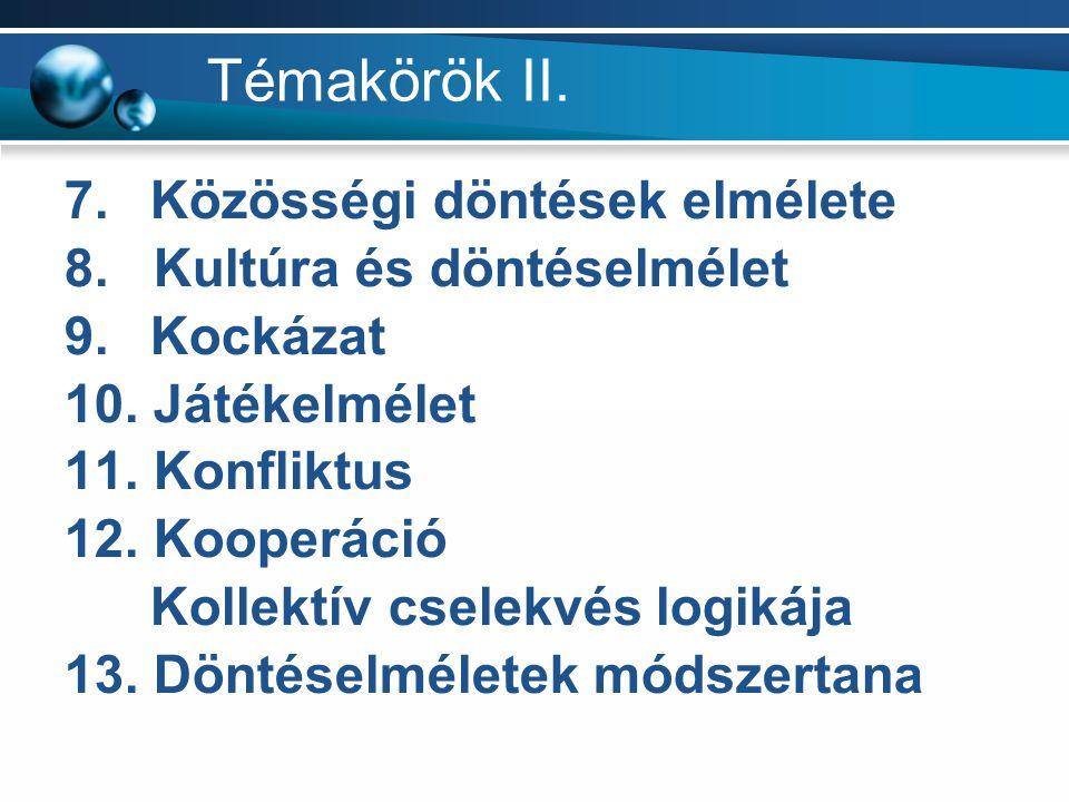 Témakörök II. 7. Közösségi döntések elmélete 8. Kultúra és döntéselmélet 9. Kockázat 10. Játékelmélet 11. Konfliktus 12. Kooperáció Kollektív cselekvé