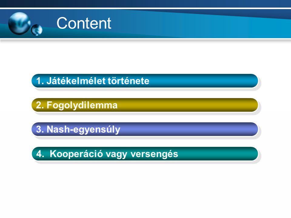 Content 1. Játékelmélet története 2. Fogolydilemma 3. Nash-egyensúly 4. Kooperáció vagy versengés