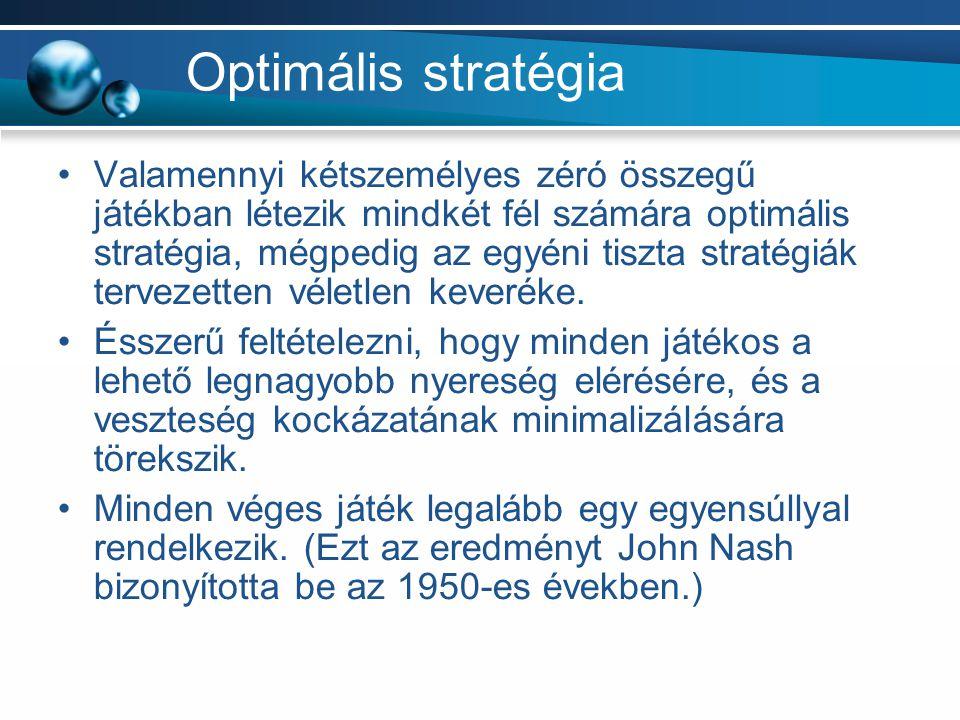 Optimális stratégia Valamennyi kétszemélyes zéró összegű játékban létezik mindkét fél számára optimális stratégia, mégpedig az egyéni tiszta stratégiá