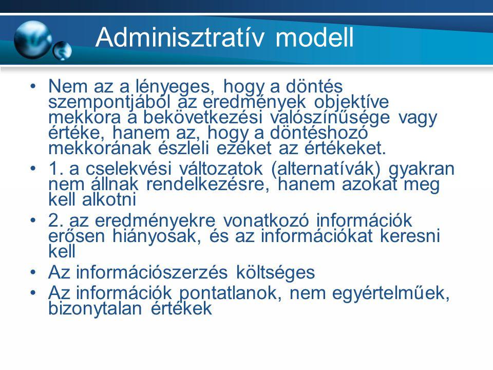 Adminisztratív modell Nem az a lényeges, hogy a döntés szempontjából az eredmények objektíve mekkora a bekövetkezési valószínűsége vagy értéke, hanem