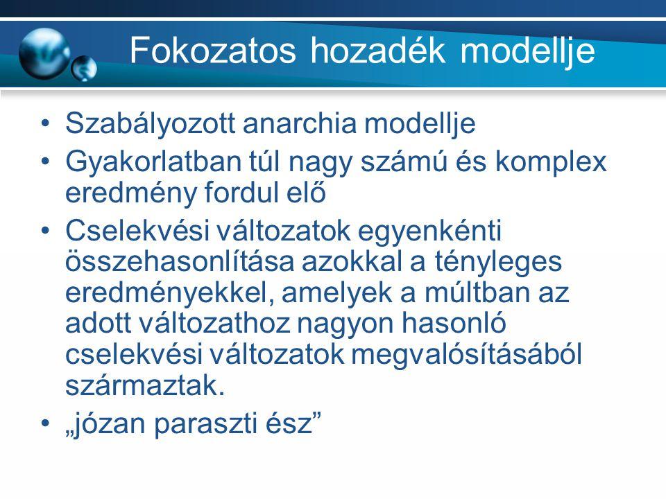 Fokozatos hozadék modellje Szabályozott anarchia modellje Gyakorlatban túl nagy számú és komplex eredmény fordul elő Cselekvési változatok egyenkénti