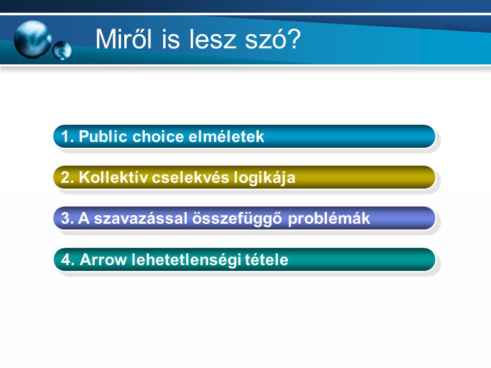 Miről is lesz szó? 1. Public choice elméletek 2. Kollektív cselekvés logikája 3. A szavazással összefüggő problémák 4.Arrow lehetetlenségi tétele