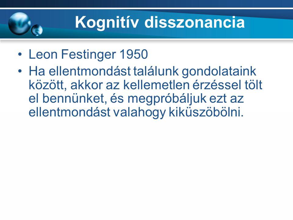 Kognitív disszonancia Leon Festinger 1950 Ha ellentmondást találunk gondolataink között, akkor az kellemetlen érzéssel tölt el bennünket, és megpróbáljuk ezt az ellentmondást valahogy kiküszöbölni.