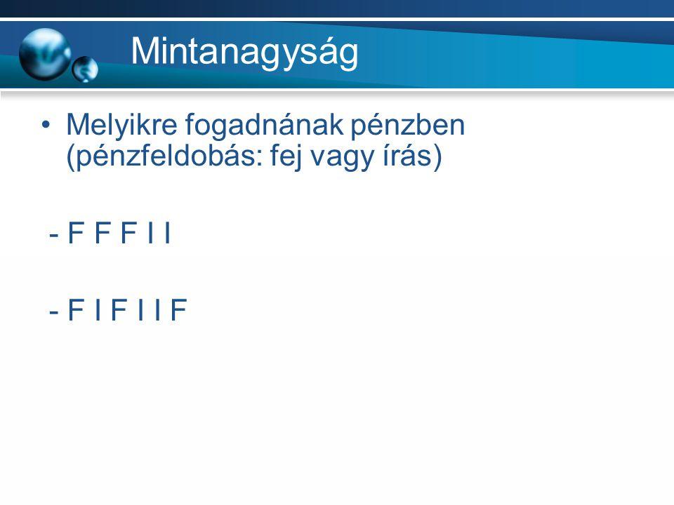 Mintanagyság Melyikre fogadnának pénzben (pénzfeldobás: fej vagy írás) - F F F I I - F I F I I F