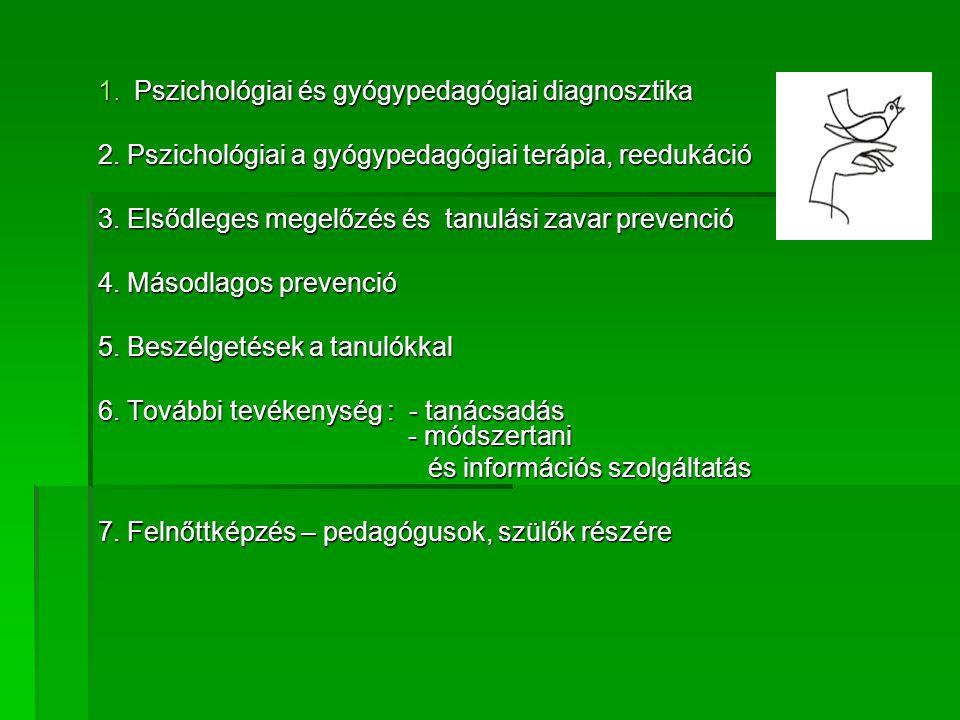 1.Pszichológiai és gyógypedagógiai diagnosztika 2. Pszichológiai a gyógypedagógiai terápia, reedukáció 3. Elsődleges megelőzés és tanulási zavar preve