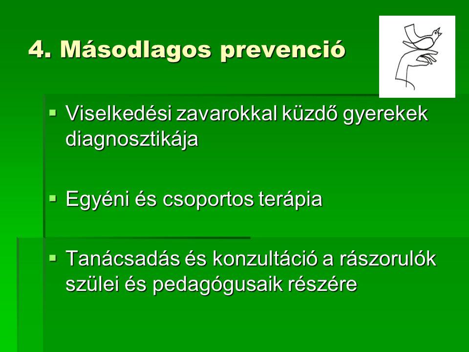 4. Másodlagos prevenció  Viselkedési zavarokkal küzdő gyerekek diagnosztikája  Egyéni és csoportos terápia  Tanácsadás és konzultáció a rászorulók