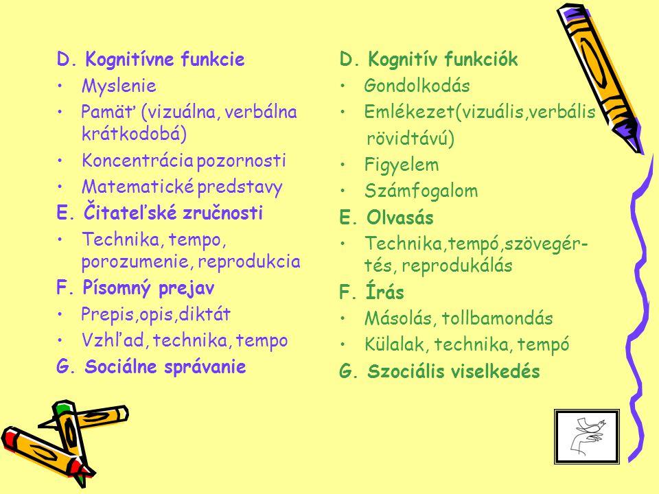 D. Kognitívne funkcie Myslenie Pamäť (vizuálna, verbálna krátkodobá) Koncentrácia pozornosti Matematické predstavy E. Čitateľské zručnosti Technika, t