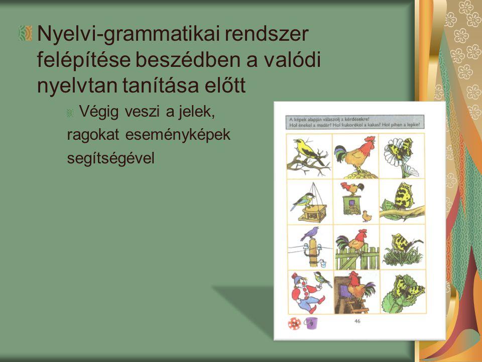 Nyelvi-grammatikai rendszer felépítése beszédben a valódi nyelvtan tanítása előtt Végig veszi a jelek, ragokat eseményképek segítségével