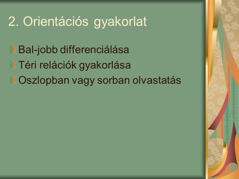 2. Orientációs gyakorlat Bal-jobb differenciálása Téri relációk gyakorlása Oszlopban vagy sorban olvastatás