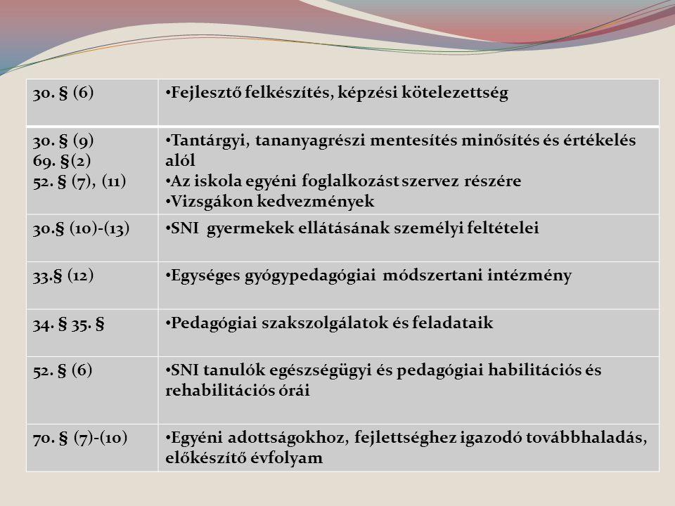 30. § (6) Fejlesztő felkészítés, képzési kötelezettség 30. § (9) 69. §(2) 52. § (7), (11) Tantárgyi, tananyagrészi mentesítés minősítés és értékelés a
