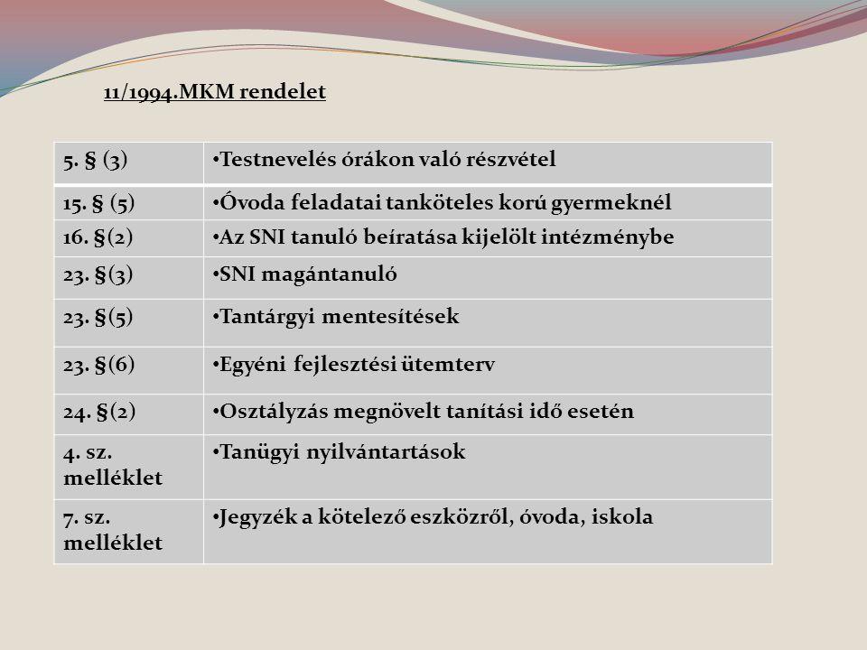 5. § (3) Testnevelés órákon való részvétel 15. § (5) Óvoda feladatai tanköteles korú gyermeknél 16. §(2) Az SNI tanuló beíratása kijelölt intézménybe