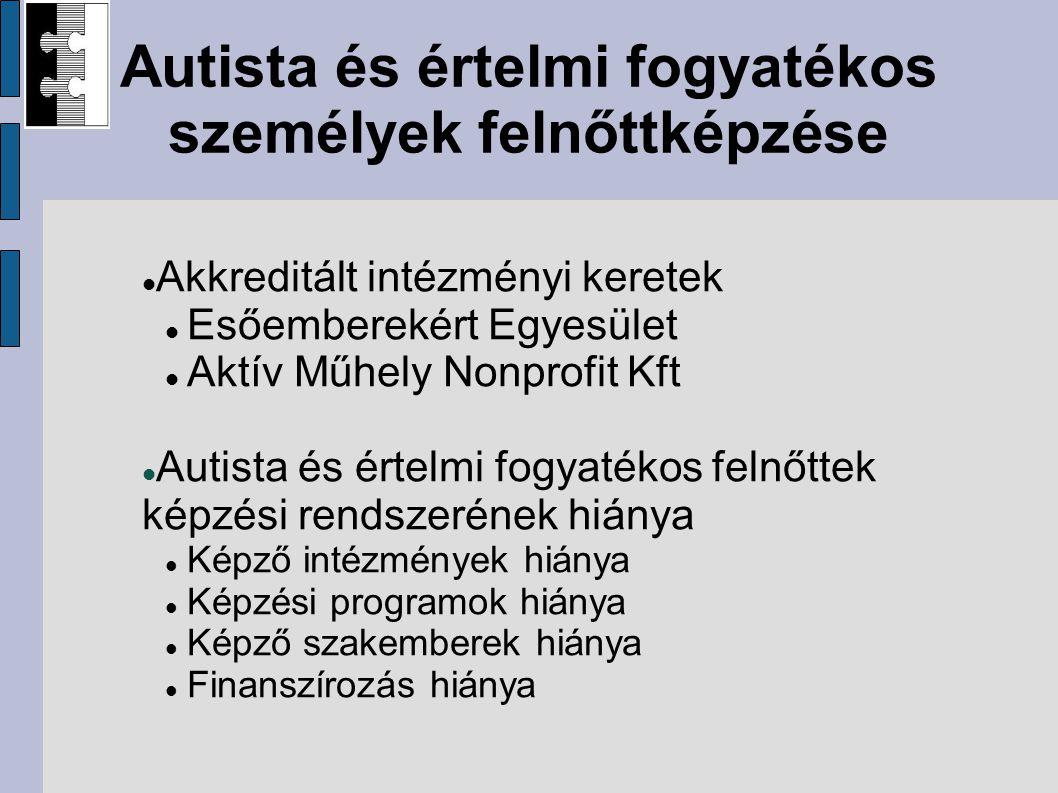 Autista és értelmi fogyatékos személyek felnőttképzése Akkreditált intézményi keretek Esőemberekért Egyesület Aktív Műhely Nonprofit Kft Autista és értelmi fogyatékos felnőttek képzési rendszerének hiánya Képző intézmények hiánya Képzési programok hiánya Képző szakemberek hiánya Finanszírozás hiánya