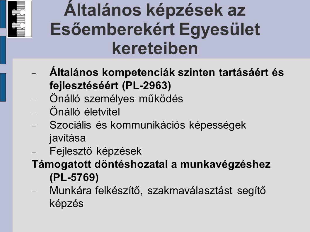 Szakmai képzések az Esőemberekért Egyesület kereteiben PL-5772 Biotermékek feldolgozóipari előállítása  Lekvár  Aszalás  Bioragasztó  Hidegen sajtolt olajok PL-6135 Hagyományőrző vendégfogadós (PL-1774) Konyhai kisegítő, felszolgáló képzés
