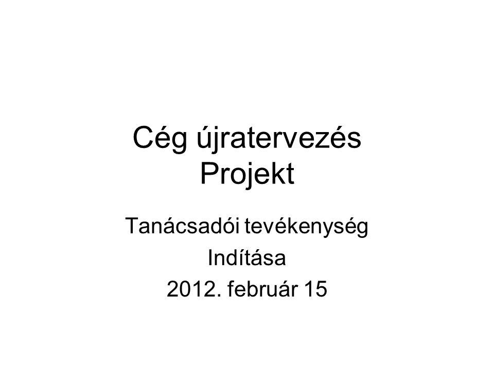 Cég újratervezés Projekt Tanácsadói tevékenység Indítása 2012. február 15