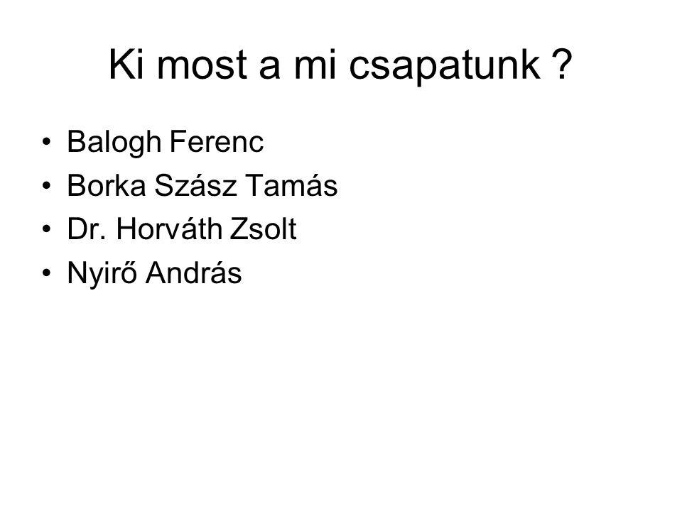 Ki most a mi csapatunk Balogh Ferenc Borka Szász Tamás Dr. Horváth Zsolt Nyirő András