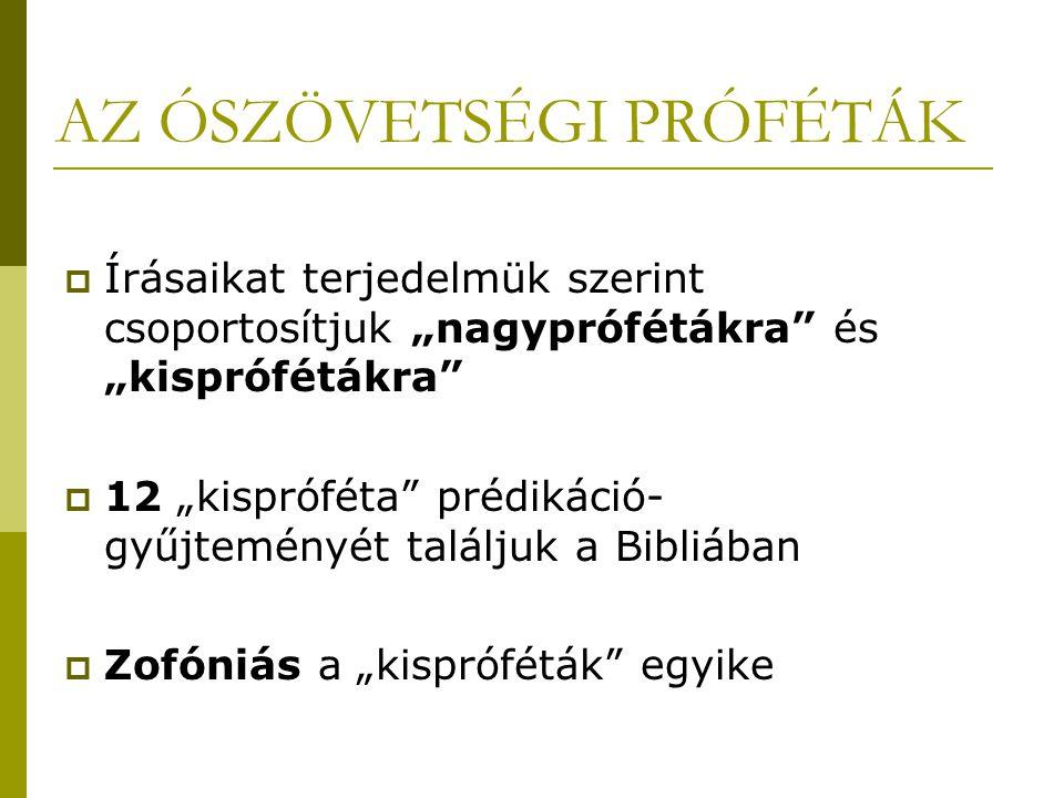 """AZ ÓSZÖVETSÉGI PRÓFÉTÁK  Írásaikat terjedelmük szerint csoportosítjuk """"nagyprófétákra"""" és """"kisprófétákra""""  12 """"kispróféta"""" prédikáció- gyűjteményét"""