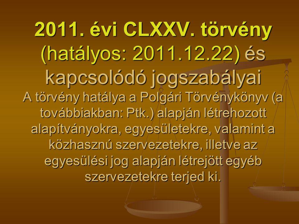 2011. évi CLXXV. törvény (hatályos: 2011.12.22) és kapcsolódó jogszabályai A törvény hatálya a Polgári Törvénykönyv (a továbbiakban: Ptk.) alapján lét