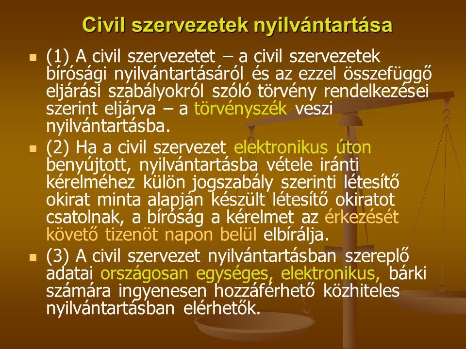Civil szervezetek nyilvántartása (1) A civil szervezetet – a civil szervezetek bírósági nyilvántartásáról és az ezzel összefüggő eljárási szabályokról