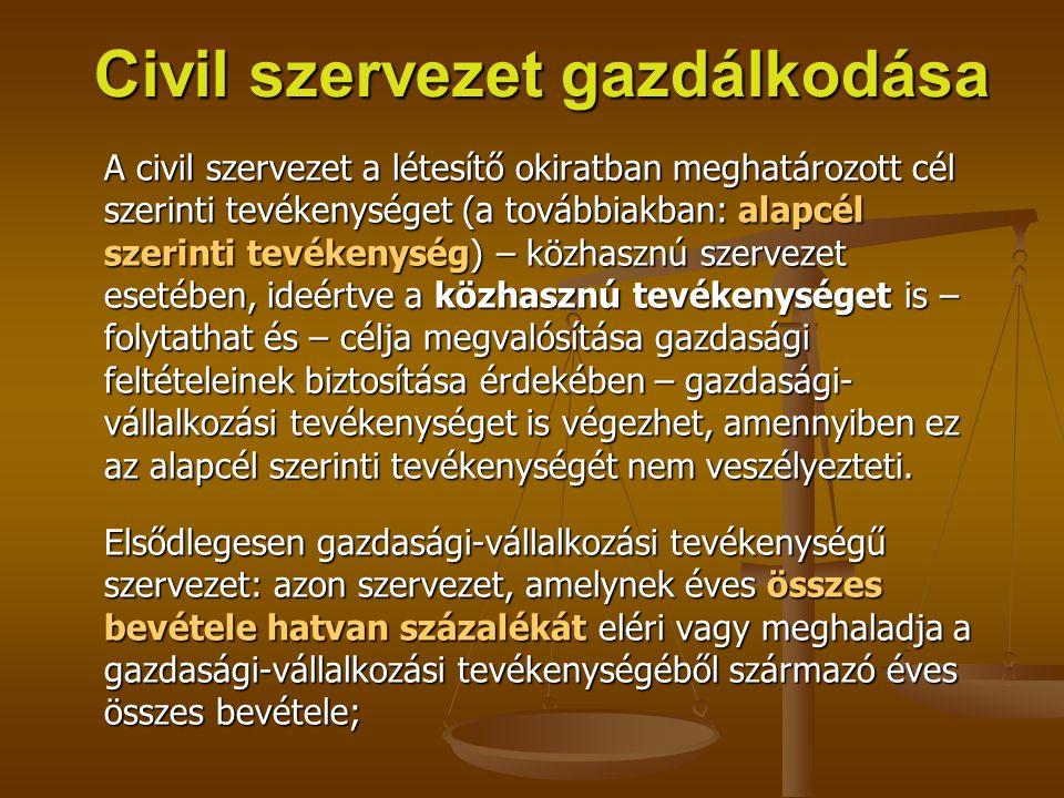 Civil szervezet gazdálkodása A civil szervezet a létesítő okiratban meghatározott cél szerinti tevékenységet (a továbbiakban: alapcél szerinti tevéken