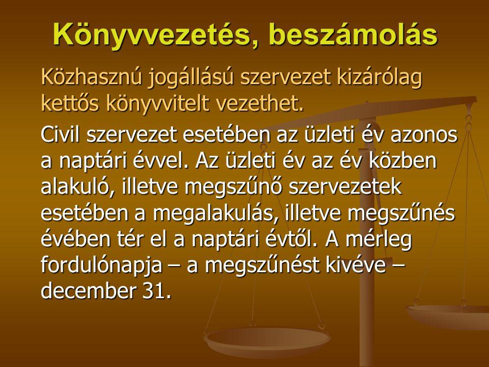 Könyvvezetés, beszámolás Közhasznú jogállású szervezet kizárólag kettős könyvvitelt vezethet. Civil szervezet esetében az üzleti év azonos a naptári é