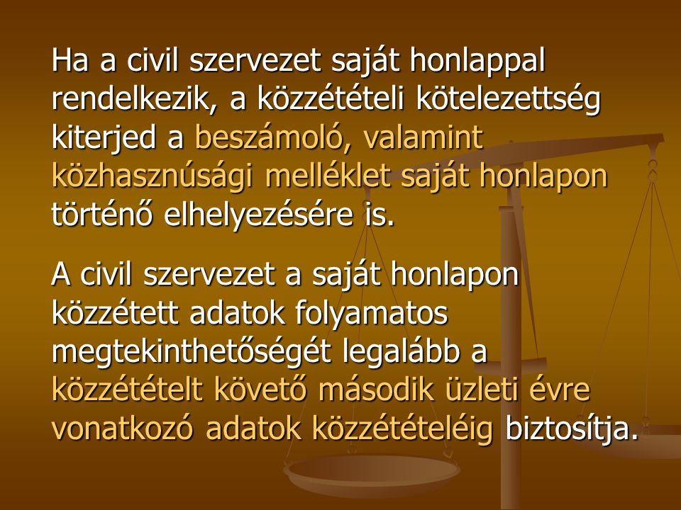 Ha a civil szervezet saját honlappal rendelkezik, a közzétételi kötelezettség kiterjed a beszámoló, valamint közhasznúsági melléklet saját honlapon tö