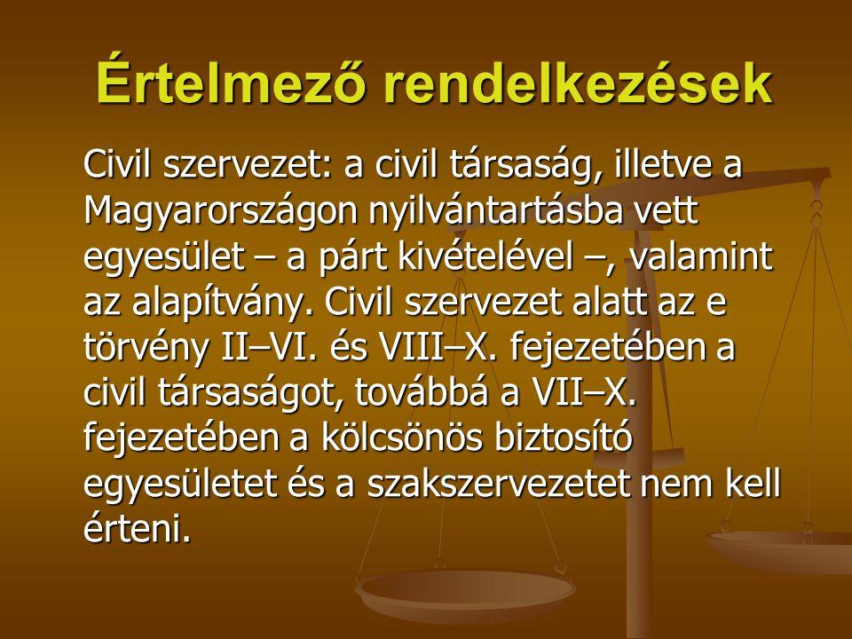 Értelmező rendelkezések Civil szervezet: a civil társaság, illetve a Magyarországon nyilvántartásba vett egyesület – a párt kivételével –, valamint az