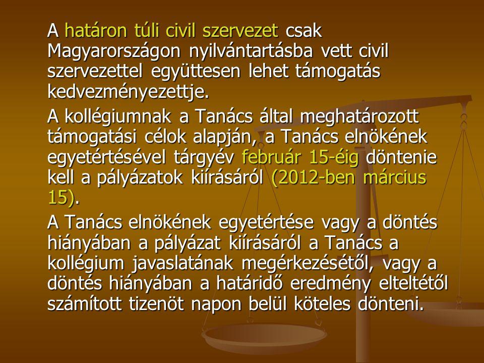 A határon túli civil szervezet csak Magyarországon nyilvántartásba vett civil szervezettel együttesen lehet támogatás kedvezményezettje. A kollégiumna