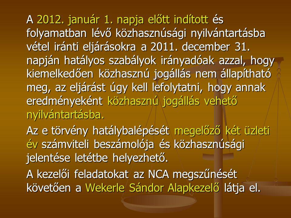 A 2012. január 1. napja előtt indított és folyamatban lévő közhasznúsági nyilvántartásba vétel iránti eljárásokra a 2011. december 31. napján hatályos
