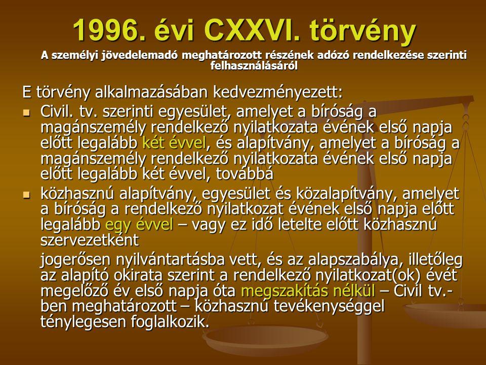 1996. évi CXXVI. törvény A személyi jövedelemadó meghatározott részének adózó rendelkezése szerinti felhasználásáról E törvény alkalmazásában kedvezmé