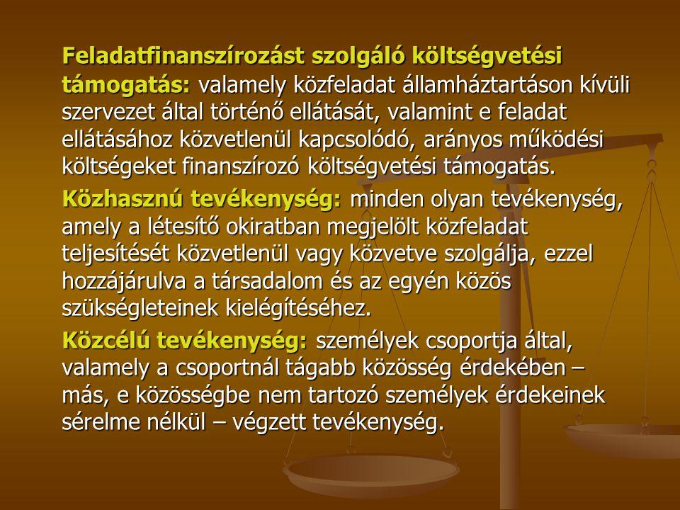 Feladatfinanszírozást szolgáló költségvetési támogatás: valamely közfeladat államháztartáson kívüli szervezet által történő ellátását, valamint e fela