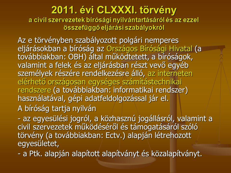 2011. évi CLXXXI. törvény a civil szervezetek bírósági nyilvántartásáról és az ezzel összefüggő eljárási szabályokról Az e törvényben szabályozott pol