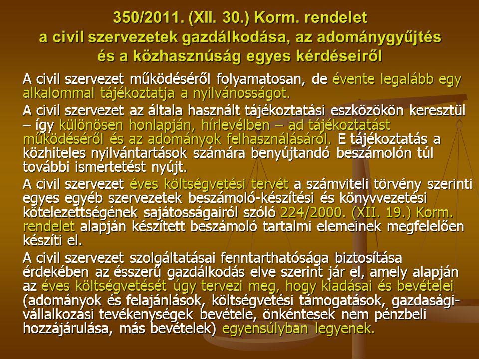 350/2011. (XII. 30.) Korm. rendelet a civil szervezetek gazdálkodása, az adománygyűjtés és a közhasznúság egyes kérdéseiről A civil szervezet működésé