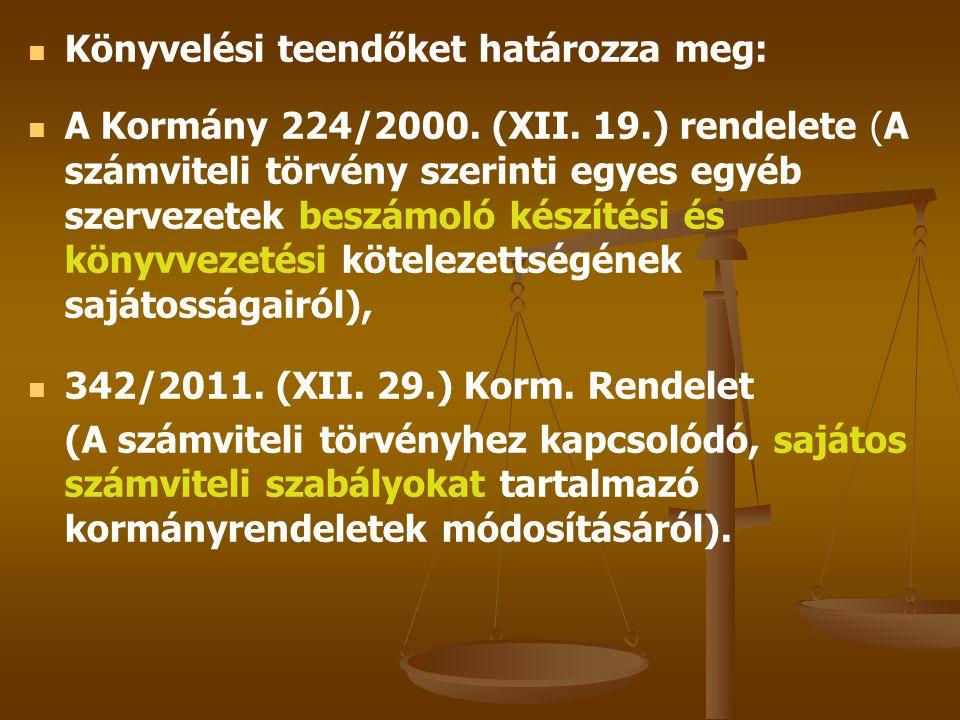 Könyvelési teendőket határozza meg: A Kormány 224/2000. (XII. 19.) rendelete (A számviteli törvény szerinti egyes egyéb szervezetek beszámoló készítés