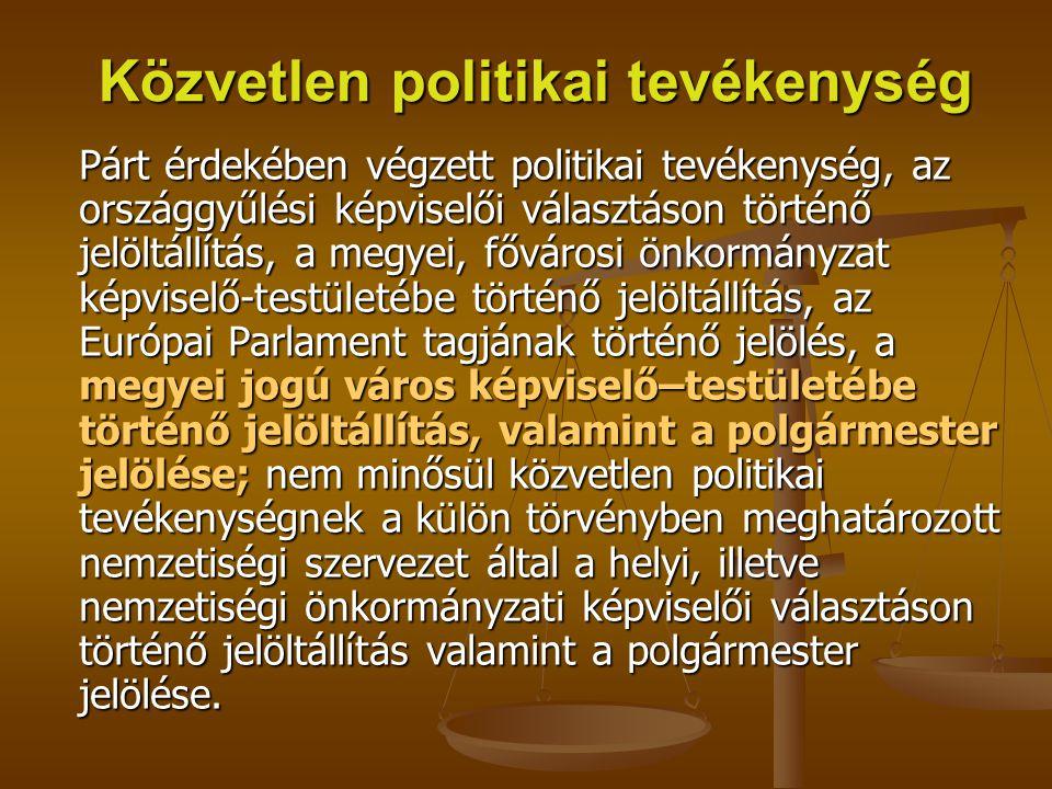 Közvetlen politikai tevékenység Párt érdekében végzett politikai tevékenység, az országgyűlési képviselői választáson történő jelöltállítás, a megyei,