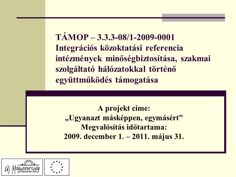 """TÁMOP – 3.3.3-08/1-2009-0001 Integrációs közoktatási referencia intézmények minőségbiztosítása, szakmai szolgáltató hálózatokkal történő együttműködés támogatása A projekt címe: """"Ugyanazt másképpen, egymásért Megvalósítás időtartama: 2009."""
