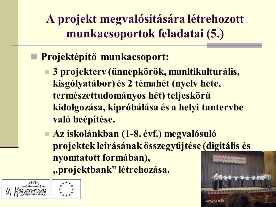 A projekt megvalósítására létrehozott munkacsoportok feladatai (5.) Projektépítő munkacsoport: 3 projekterv (ünnepkörök, munltikulturális, kisgólyatábor) és 2 témahét (nyelv hete, természettudományos hét) teljeskörű kidolgozása, kipróbálása és a helyi tantervbe való beépítése.