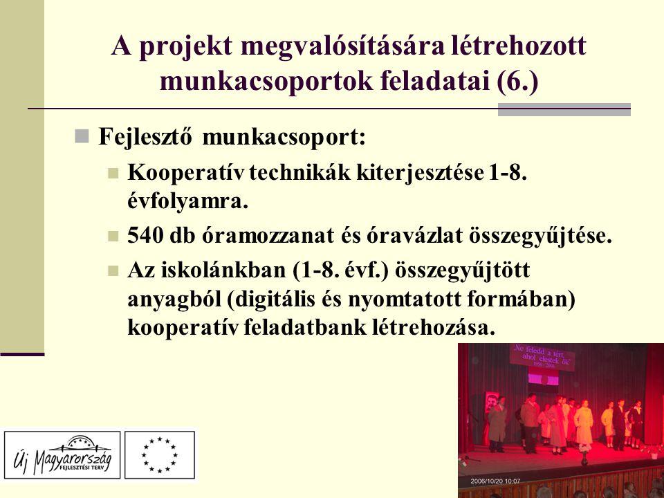 A projekt megvalósítására létrehozott munkacsoportok feladatai (6.) Fejlesztő munkacsoport: Kooperatív technikák kiterjesztése 1-8.