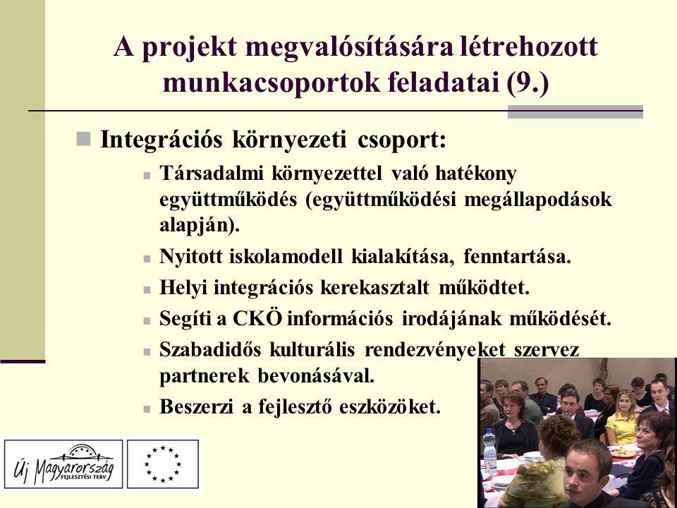 A projekt megvalósítására létrehozott munkacsoportok feladatai (9.) Integrációs környezeti csoport: Társadalmi környezettel való hatékony együttműködés (együttműködési megállapodások alapján).