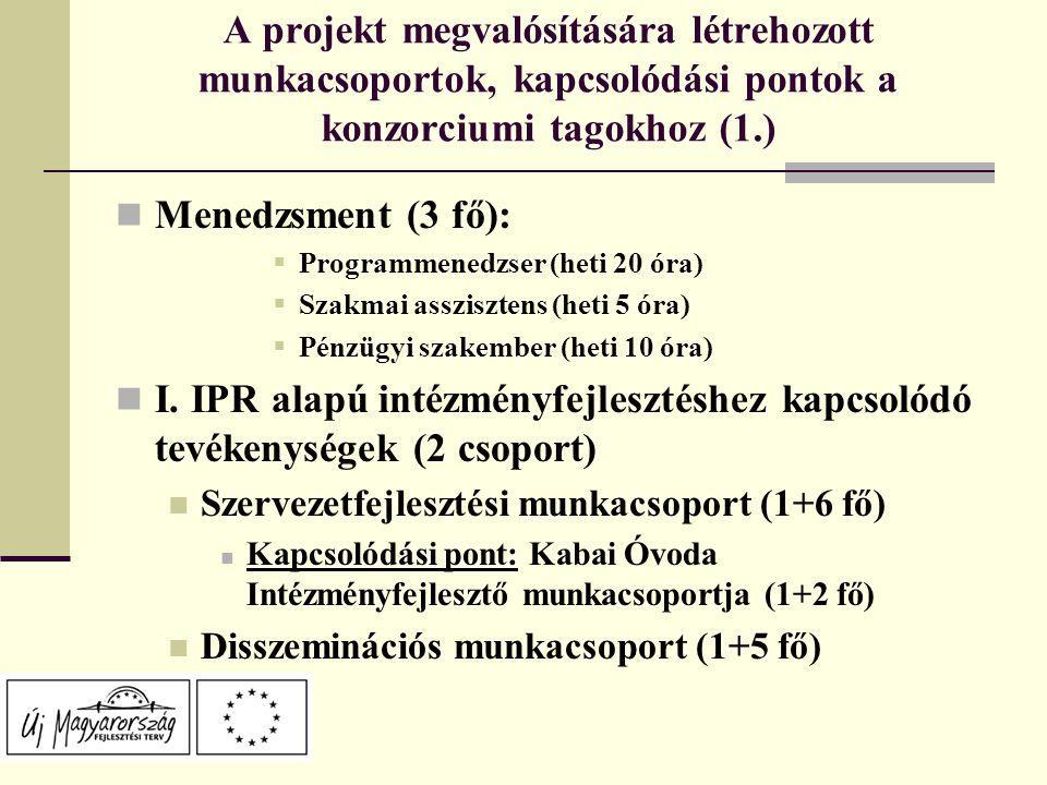 A projekt megvalósítására létrehozott munkacsoportok, kapcsolódási pontok a konzorciumi tagokhoz (1.) Menedzsment (3 fő):  Programmenedzser (heti 20 óra)  Szakmai asszisztens (heti 5 óra)  Pénzügyi szakember (heti 10 óra) I.