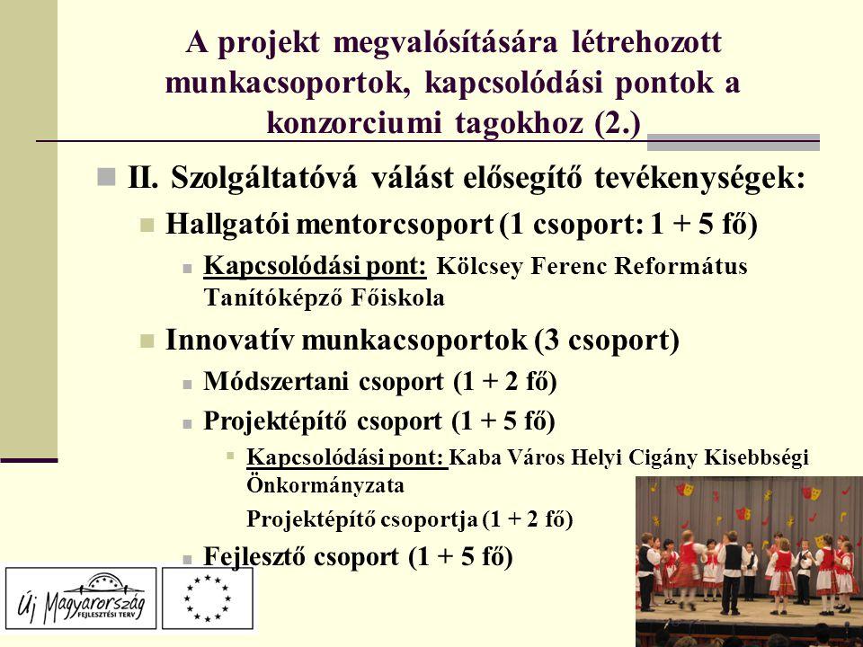 A projekt megvalósítására létrehozott munkacsoportok, kapcsolódási pontok a konzorciumi tagokhoz (2.) II.