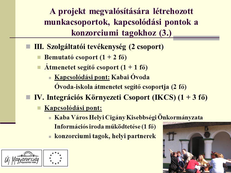 A projekt megvalósítására létrehozott munkacsoportok, kapcsolódási pontok a konzorciumi tagokhoz (3.) III.